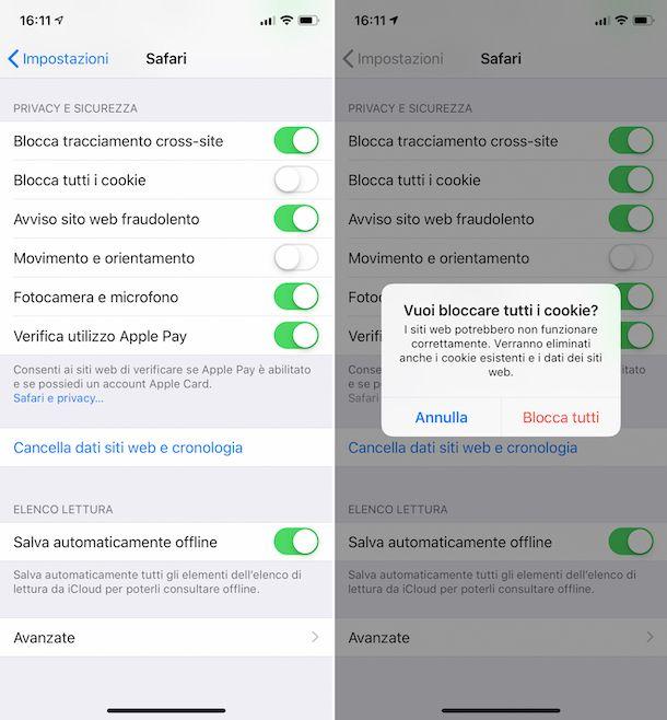 Disattivazione dei cookie su Safari per iPhone