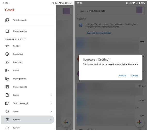 Come svuotare cestino email Android