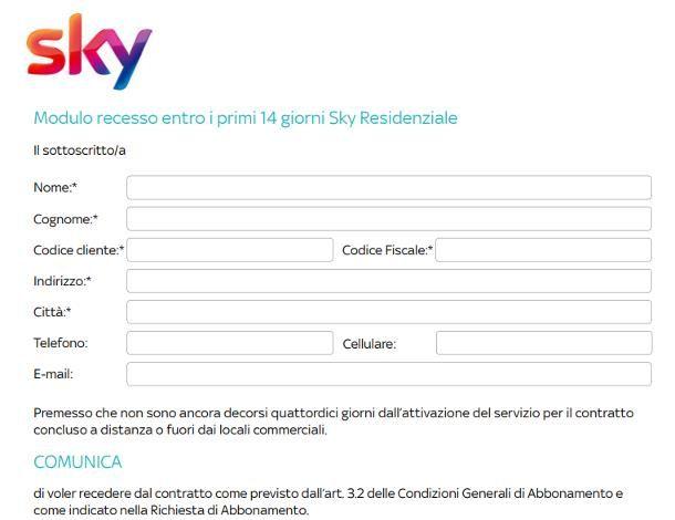 Disdetta Sky digitale terrestre entro 14 giorni