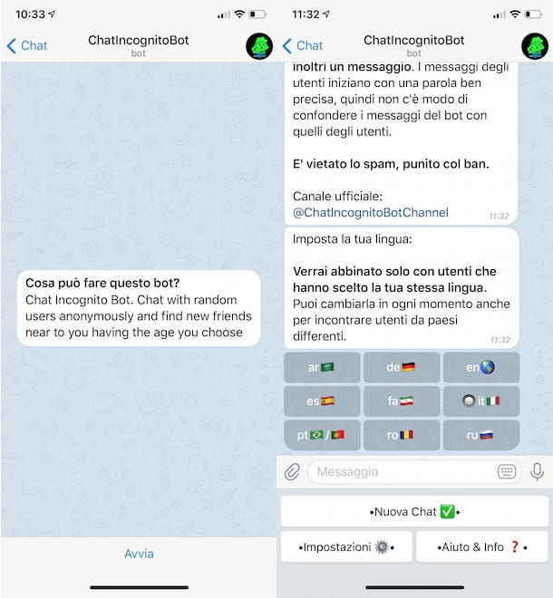 Chat anonima su Telegram