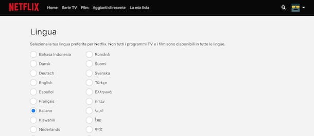 Lingua account Netflix