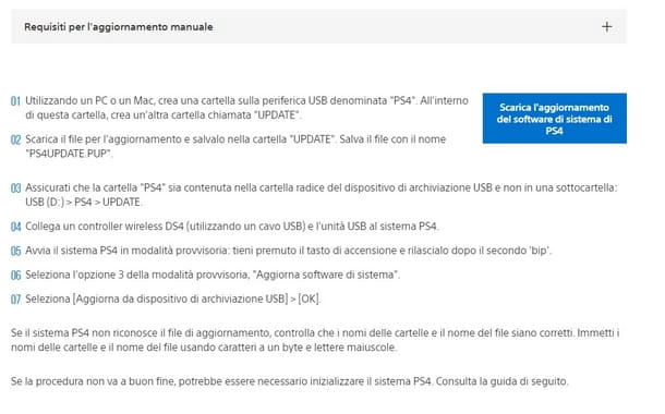 Download dell'aggiornamento PS4