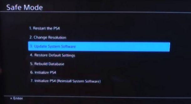 Utilità della modalità provvisoria di PS4