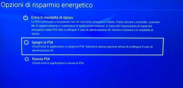 Provare a riavviare la PS4