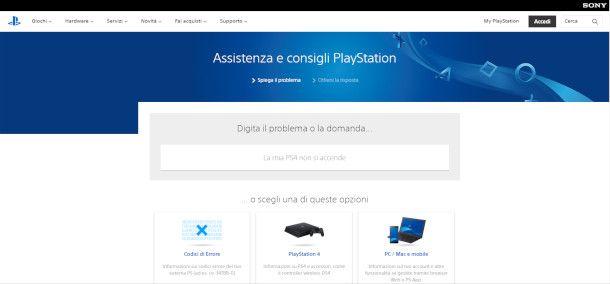 Assistenza PlayStation