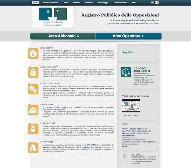 Iscrizione al registro delle opposizioni