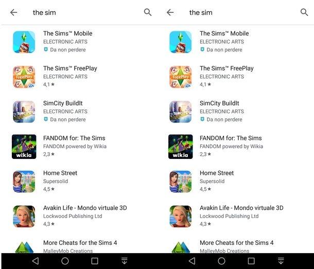 Cercare The Sims su Play Store