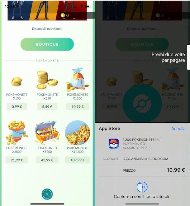 Acquistare monete su Pokémon GO