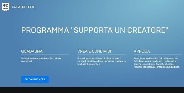 Supporta un creatore
