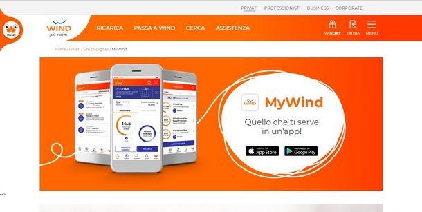 Utilizzare l'Area Clienti MyWind