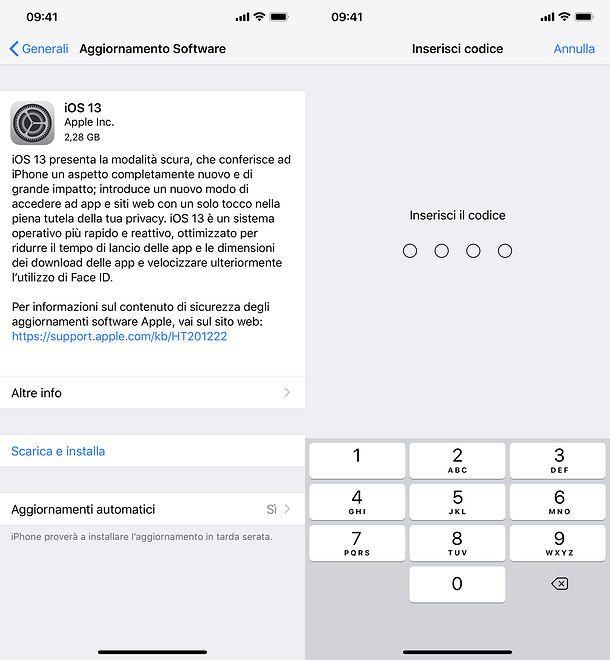Aggiornamento iOS 13