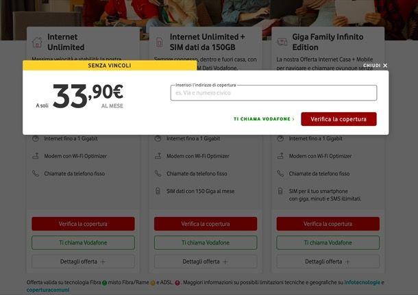 Verifica copertura rete fissa Vodafone