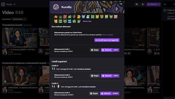 Abbonarsi a un canale Twitch