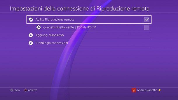 Abilita riproduzione remota PS4