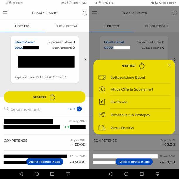 App BancoPosta per gestione libretti