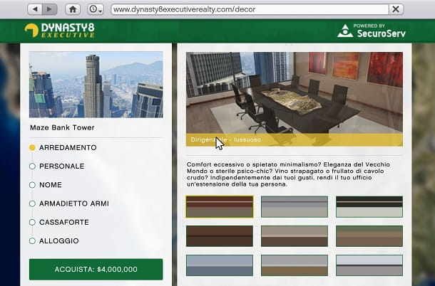 Arredare ufficio in GTA Online