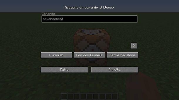 Blocco comandi su Minecraft