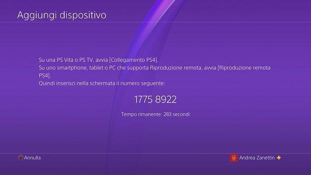 Codice abbinamento PS4