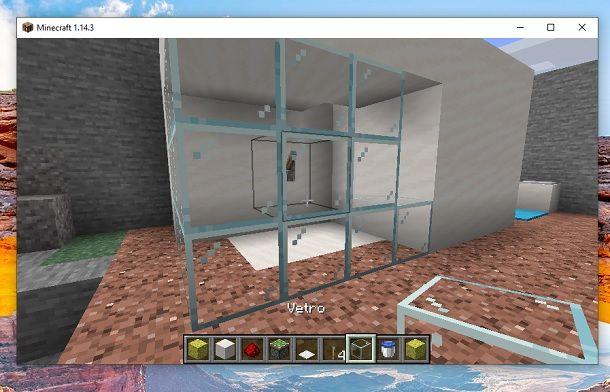 Estendi struttura e blocchi di vetro Minecraft
