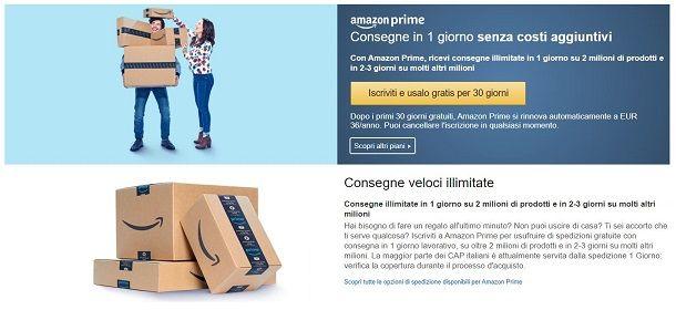Iscrizione ad Amazon Prime