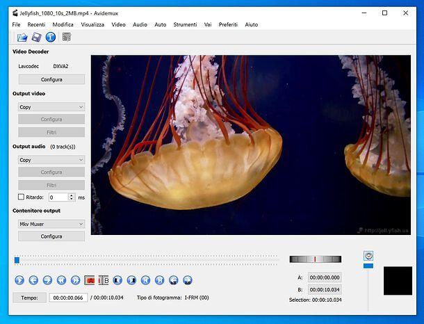 Schermata di Avidemux