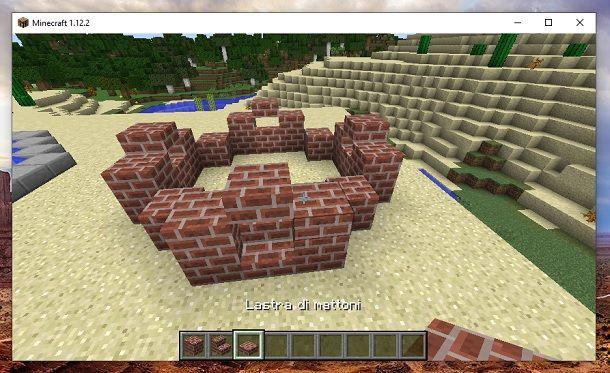 Lastra di mattoni superiore e blocco sostegno Minecraft
