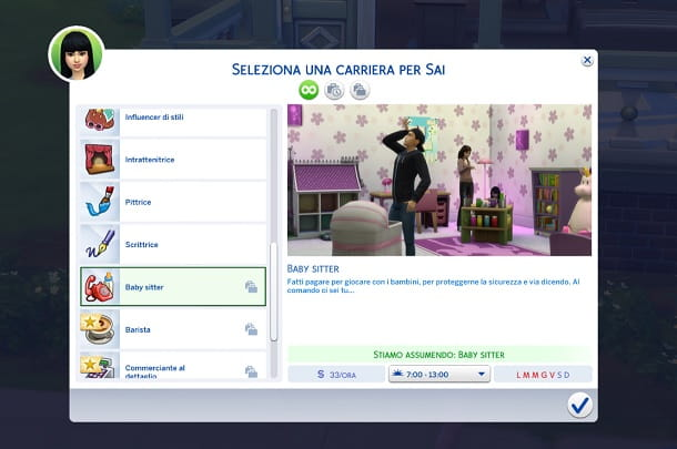 Lavori part-time The Sims 4