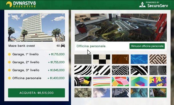 Personalizzazione del garage su GTA Online