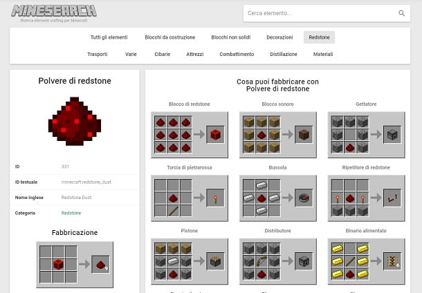 Polvere di redstone Minesearch