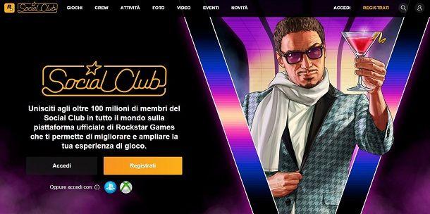 Registrare un account Social Club