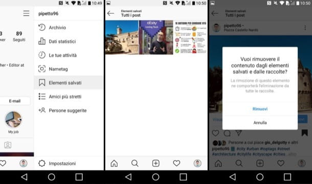 Elementi salvati su Instagram Android