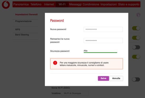Modificare password Wi-Fi Vodafone Station