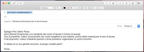 Esempio di email da inviare a professore per tesi