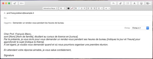 Email a un professore in francese