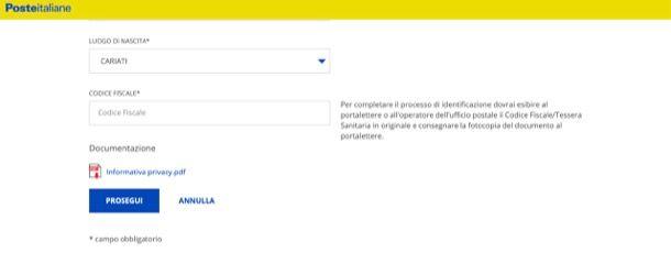Registrazione PosteID