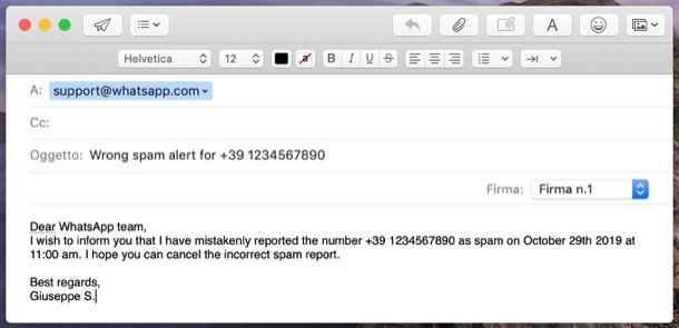 Annullare segnalazione spam WhatsApp per un contatto