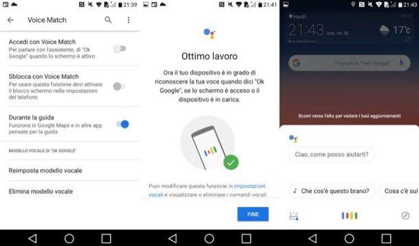 Ok Google su Android