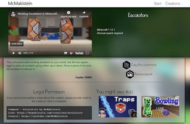 Sito Web McMakistein per scaricare progetto di Minecraft