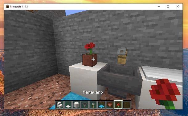 Vaso da fiori e Papavero Minecraft