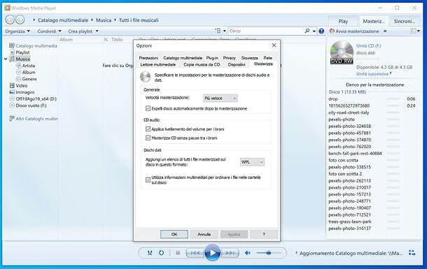 Come masterizzare un CD dati con Windows Media Player