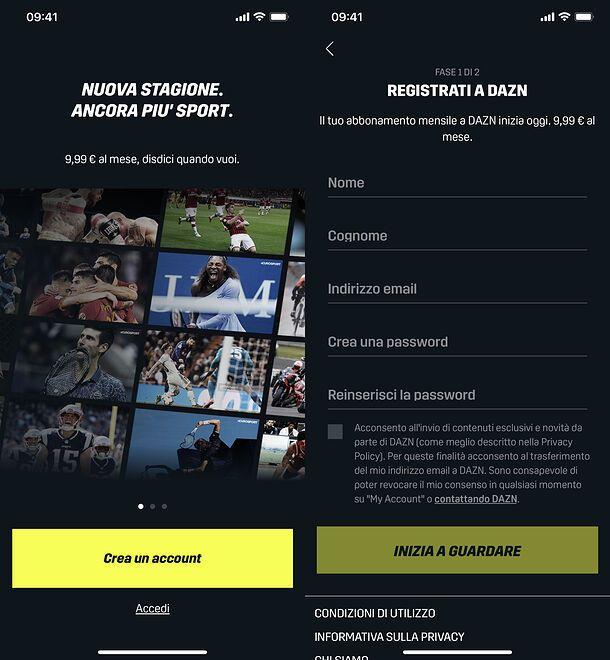 Registrazione da app DAZN