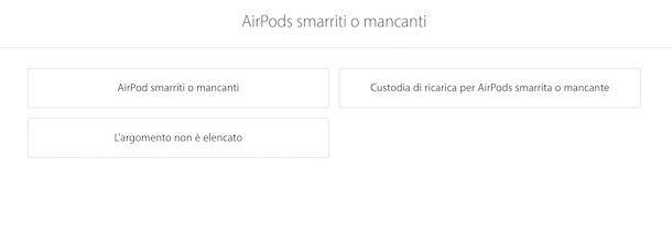 Richiedere sostituzione AirPods per smarrimento