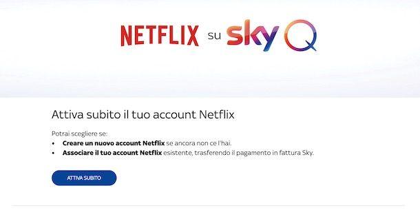 Attivare account Netflix su Sky