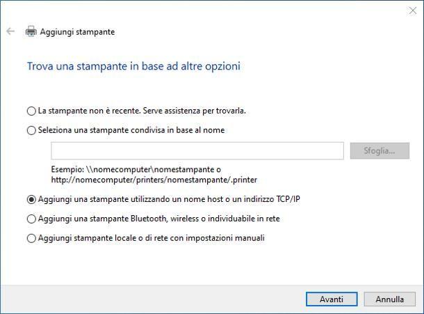 Come installare una stampante di rete tramite indirizzo IP - Windows