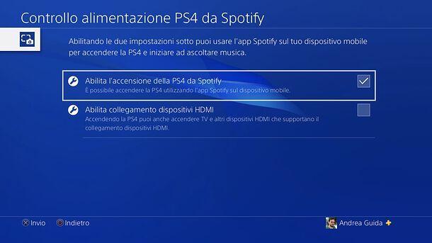 Attivazione sveglia PS4 con Spotify