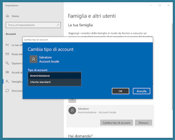 Cambiare tipo account locale Windows 10