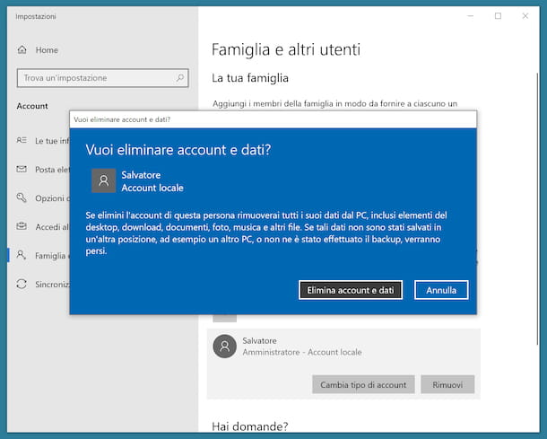Eliminare account amministratore Windows 10