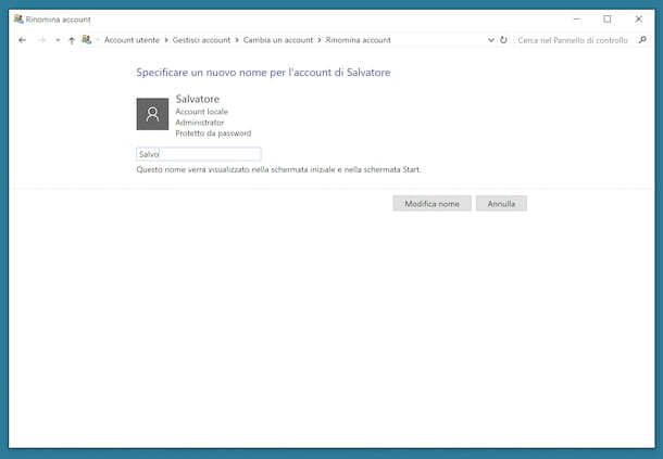 Cambiare nome account Windows 10