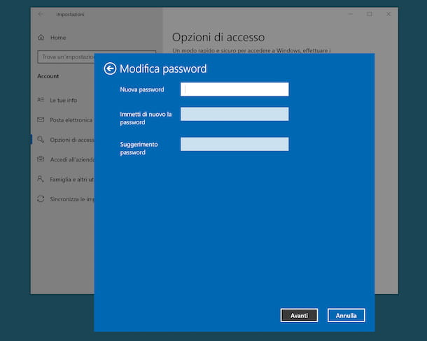 Cambiare password account Windows 10
