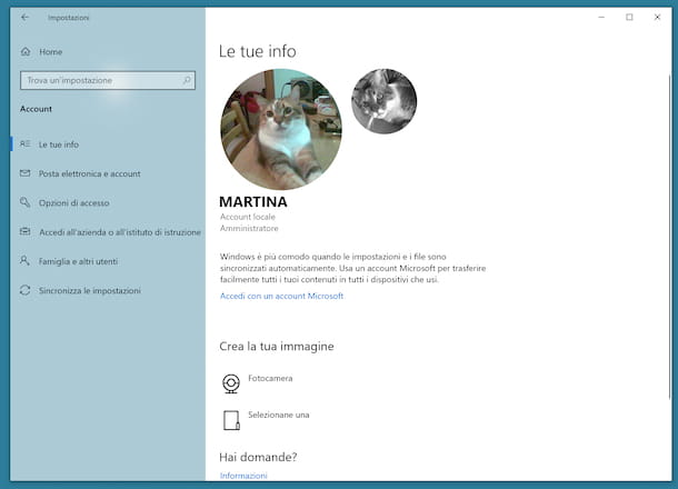 Cambiare immagine account Windows 10